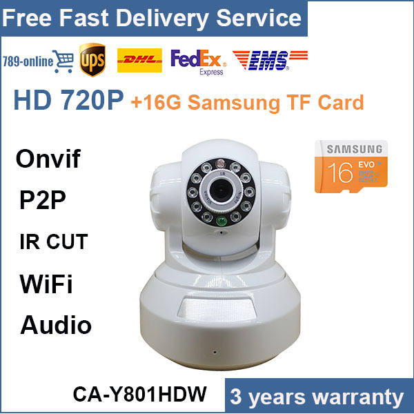 2015 Promotion  H.264 P2P wireless IP Camera wifi HD 720P P/T Motion detection mini CCTV ipcam email alarm with 16GB TF Card