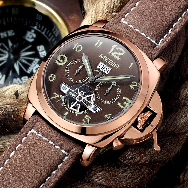 Free shipping MEGIR 3206 Luminous Mechanical Watch Men Genuine Nubuck Leather Strap Waterproof Wristwatch Analog Display watches(China (Mainland))