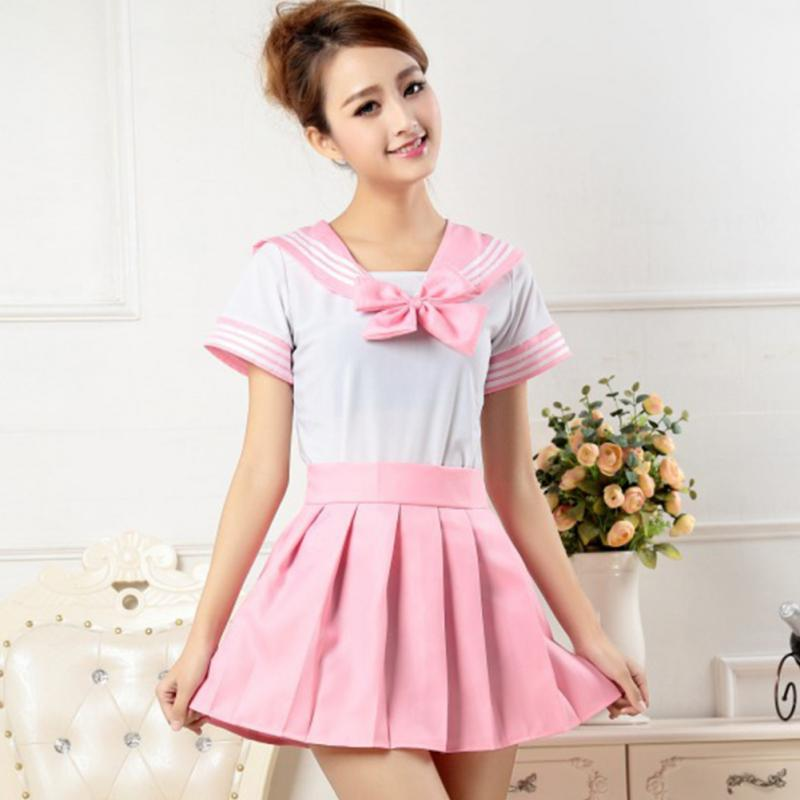 Wholesale Japanese School Girl Uniform Dress T Shirt + Mini Skirt Outfit Sailor Sailor Cosplay ...