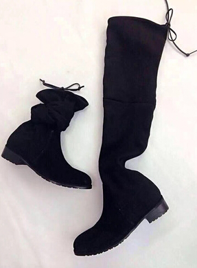 Hot autumn winter women genuine leather flats heel thigh high suede boots elastic slim long boots lowland boots <br><br>Aliexpress