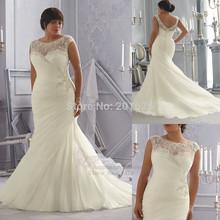 Plus Size Wedding Dresses Scoop Romantic Appliques Pleat Vestido De Noiva Plus Size Court Train V-back Zipper Bridal Gowns(China (Mainland))