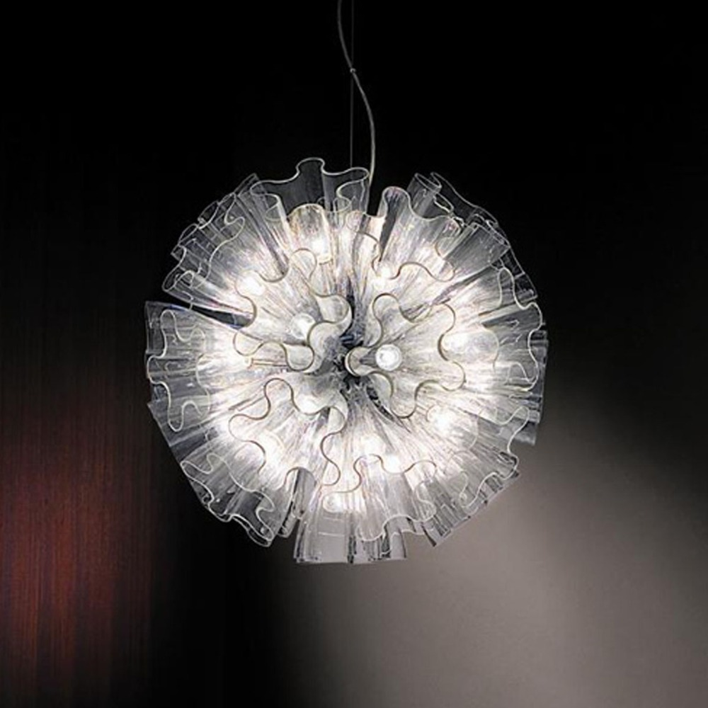 IKEA Personality Butterfly Flower Drop Pendant Light 19 Head Glass Lampshade Chrome/Clear Select Nordic Brief RH Loft Lamp Decor(China (Mainland))