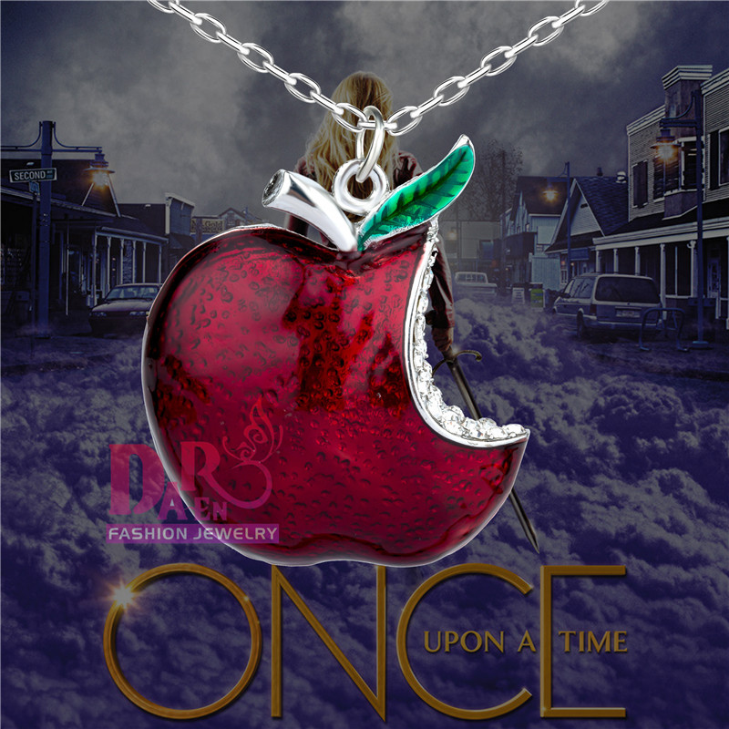Once Upon A Time Snow White Regina Crystal Poison Red Apple Necklace DMV562(China (Mainland))