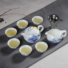 Promotion Ceramic Tea Cup With Teapot & Gaiwan Set Handpainted Kung Fu Tea Set