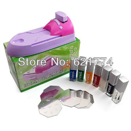 DIY Nail Art Stamping Printing Machine Colors Drawing Polish Nail Printer with 7 x Attractive Nail Polish Free Shipping