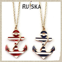 2015 new design women jewelry red and black long chain anchor necklace pendant free vintage shipping