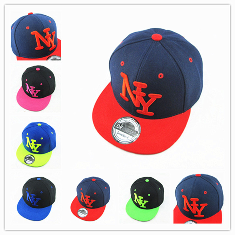 New Arrival NY Kids Snapback Cartoon Embroidery Cotton Baseball Cap Boys&Girls Snapback Caps Hip Hop Hats(China (Mainland))