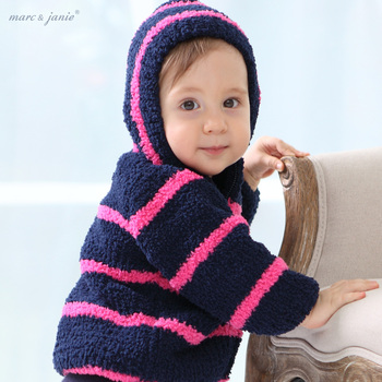 Marc janie spring and autumn  top chenille ultra soft    stripe with a hood clothing  baby coat child outerwear infants coats