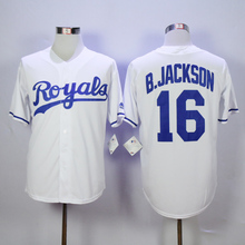 Mens KC High Quality 16 Bo Jackson 18 Ben Zobrist Throwback baseball Jersey color blue gray white Jerseys(China (Mainland))