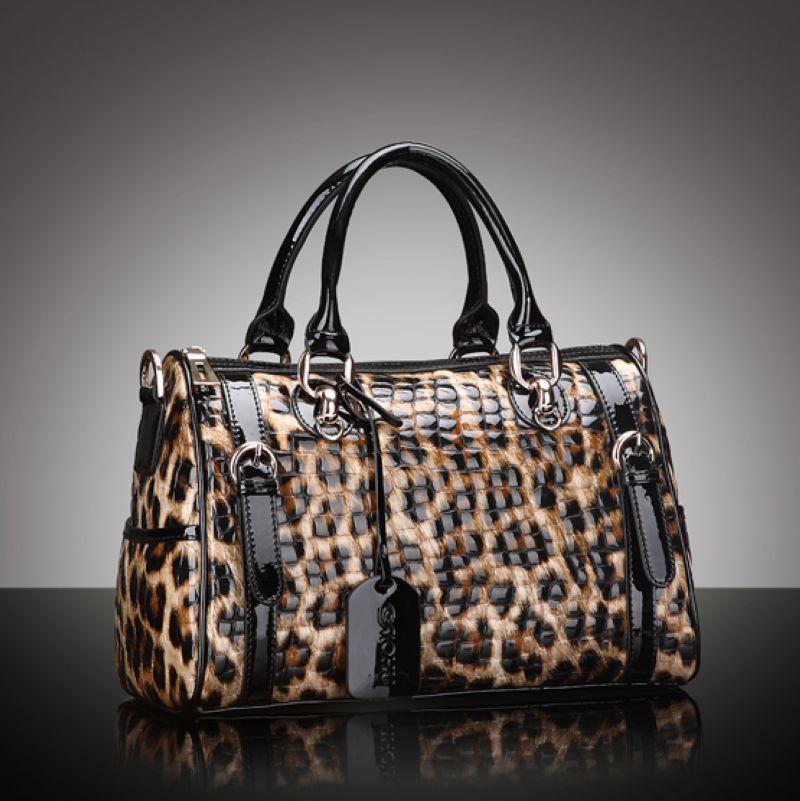 2014 Fashion Leopard Pattern Women Cowhide Genuine Leather Handbag\Bag, Ladies Tote Bags\shoulder bags \Messenger bag~13B161<br><br>Aliexpress