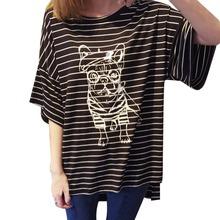 Cartoon dog graffiti printing simple loose fifth sleeve striped bat sleeve T-shirt