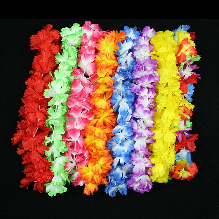 50 pcs Hawaiian Flower Leis Artificial Flowers Wreath Party Decoration Wedding Decor Birthday Party Christmas Supplies HH0004