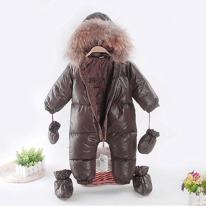 Скидки на Девочка комбинезоны россии зимняя одежда, зимнее пальто, носить утка сделаны из гусиного пера снег, костюмы для детей мальчики девочки сгусток