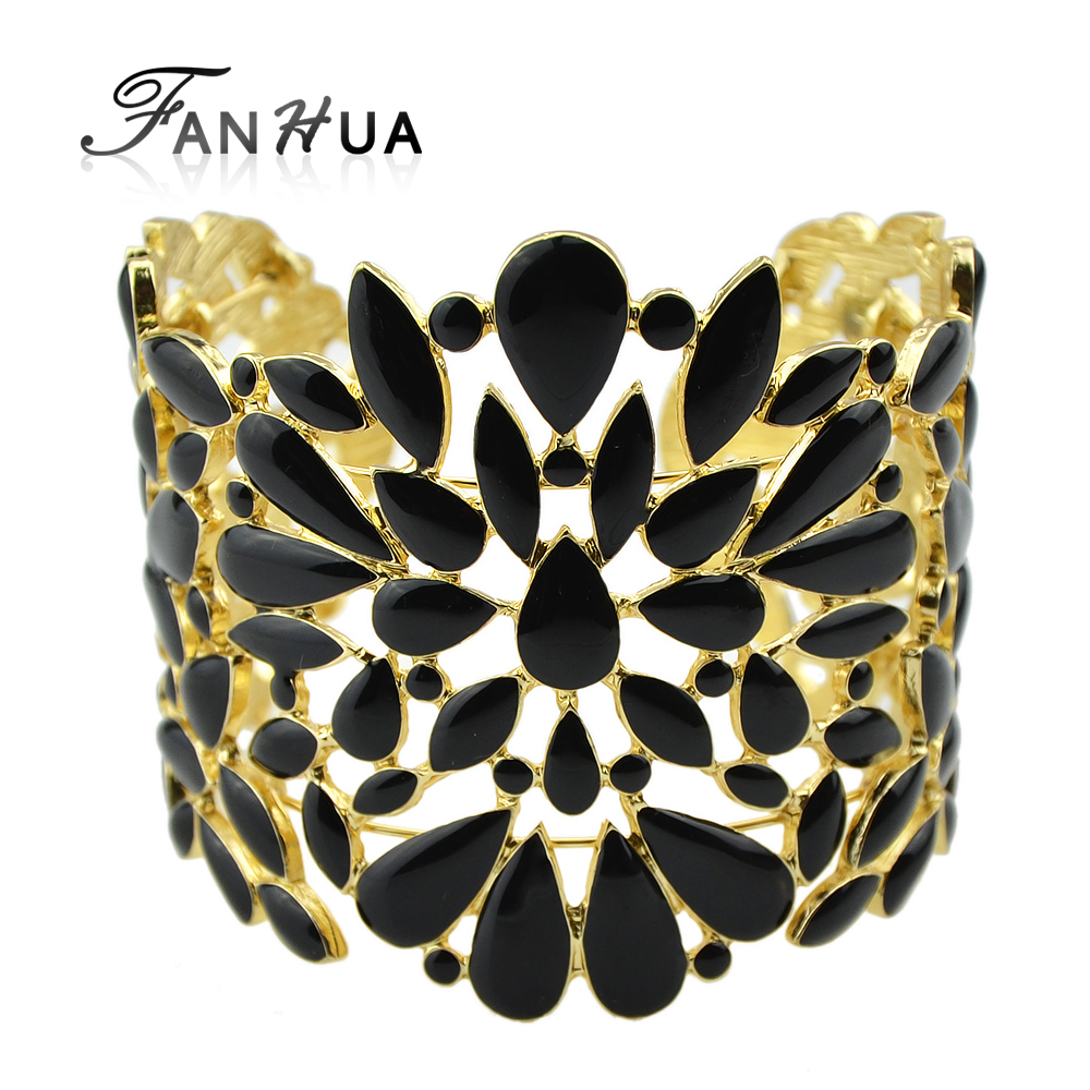 Vintage Black And Beige Color Enamel Hollow Out Cuff Bracelet and Bangles Designer Bijoux For Women Adjustable Pulseira Ouro(China (Mainland))