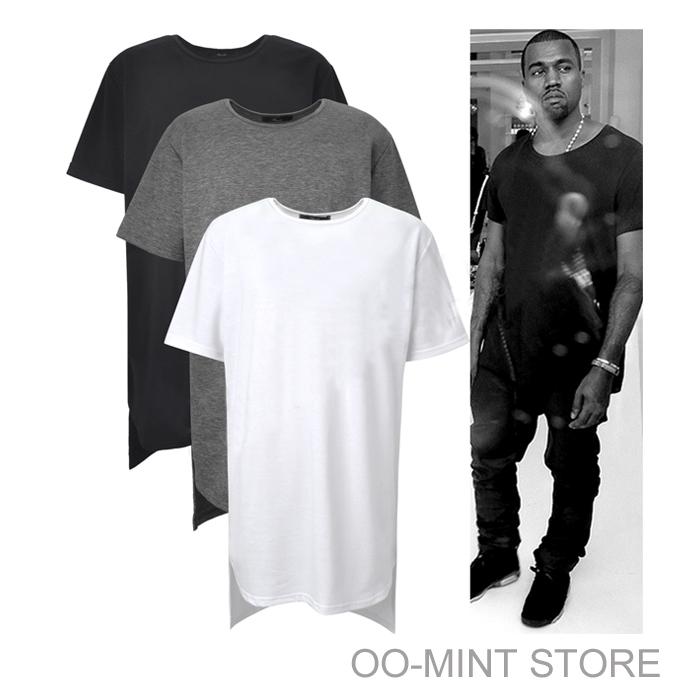 Long High Low Tee New 2015 Fashion Hip Hop Man Spring Top T-shirt T Shirt Tshirt Men Tyga Swag Clothing Clothes Kanye West(China (Mainland))