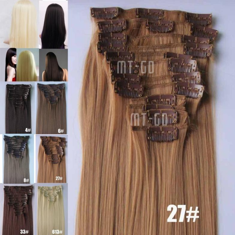 Гаджет  2015 popular style 12 Clip In On Synthetic straight Hair 22 inch Extensions Hairpiece wig 12PCS Full Head 6 colors available None Волосы и аксессуары