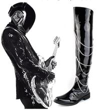 Mens Black Leather Chain Over the Knee Punk Rock Boots Motorcycle Boots Cosplay Martin High Boots