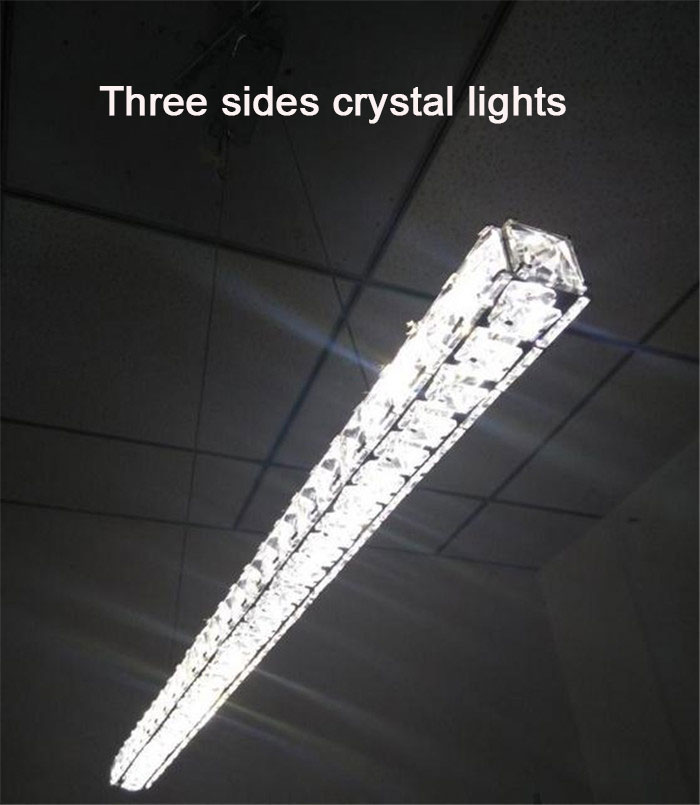 Modern L70cm Long Bar LED crystal Chandelier Dining room Kitchen Restaurant office Illumination lighting fixtures(China (Mainland))