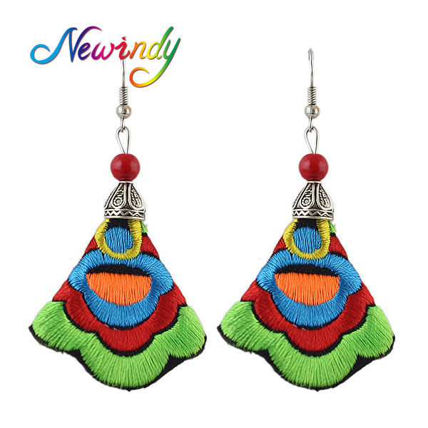 Newindy Boho Chinese Bohemian Jewelry Ethnic Earring Handmade Colorful Embroidery Long Drop Earrings for Women from india aros(China (Mainland))