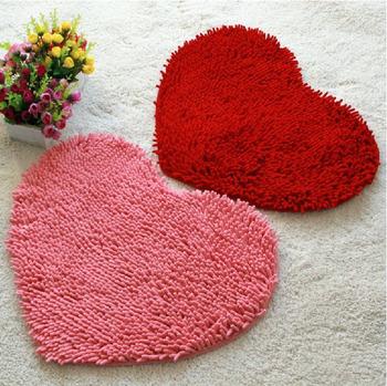 Пушистый спальня коврик ковровое покрытие коврик для ванной комнаты в форме сердца любви коврик 43 X 59 см синели
