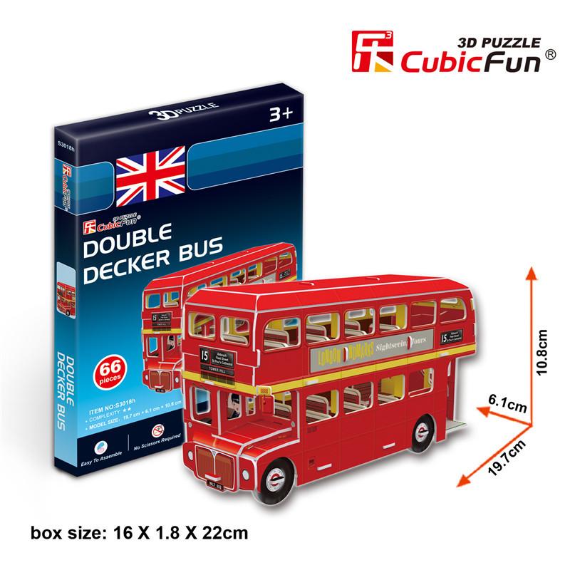 3D puzzle toy CubicFun 3D paper model DIY jigsaw game mini Double Decker Bus 1pc(China (Mainland))