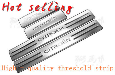 Threshold strip pedals styling covers Stainless steel Car door sill Scuff Plate pedal Cover for citroen C2 c4 c4l 2008+(China (Mainland))
