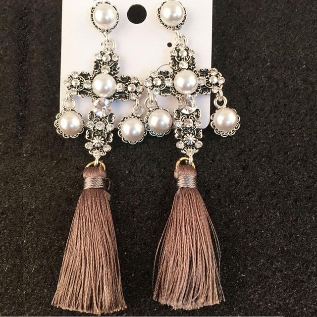 Барокко мода старинные крест перл мотаться длинный шелковый кисточка подвеска ретро дворец себе серьги для женщин-летию ювелирных изделий