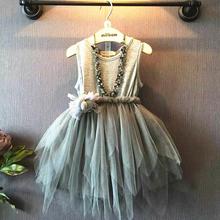 2015 del verano caliente de la venta del bebé muchacha visten la nueva moda la ropa los niños Irregular del vestido de malla vestido de ropa al por menor(China (Mainland))