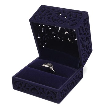 2016 New Velvet Flock Single Ring Box Jewellery Case Hollow Navy Blue Pendant Holder Display Box Gift