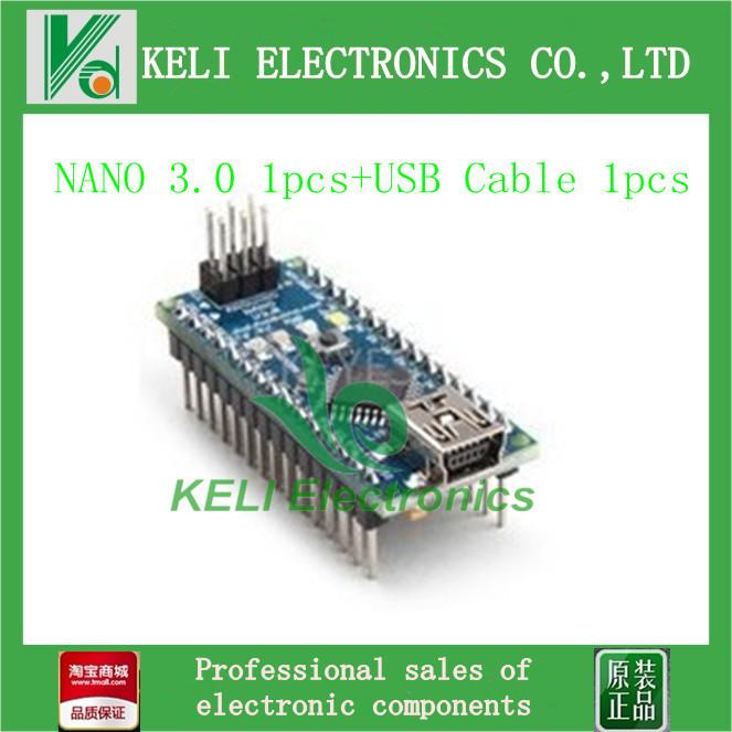 Free Shipping 2PCS/LOT = 1PCS Nano 3.0 Atmel ATmega328 Mini-USB Board+ 1pcs USB Cable(China (Mainland))