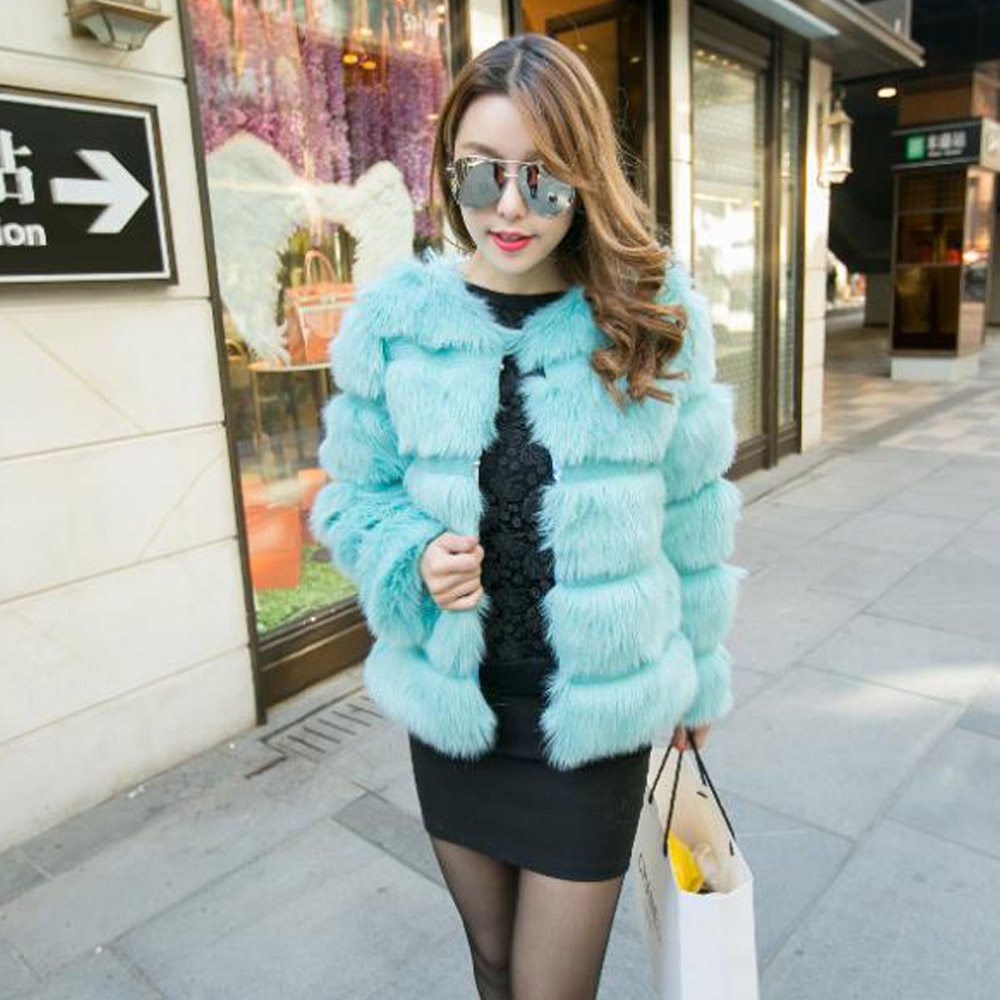 Super Quality!! Women's Faux Fox Fur Hairy Jacket Short Coat Long Sleeve Shaggy Blue Outwear Autumn Winter Tops - Sexy Woman Line store