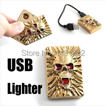 Electronic Skull Lighter USB Lighters & Smoking Accessories No Flame Windproof Rechargeable Fun Gadget Gifts For Man(China (Mainland))