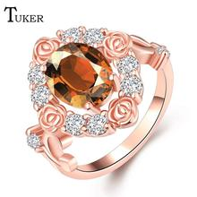 Buy Fashion Multicolor Rings Women Romantic pop roses Cubic Zirconia Rose Gold Color Wedding Finger Ring Fine Jewelry for $2.35 in AliExpress store