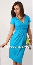 New Fashion 2014 Elegant Celebrity V-neck Short Sleeve Knee-length Cotton Casual Bodycon Women Dresses 5003(China (Mainland))