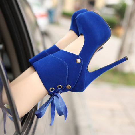Sexy ultra high heels bow 16cm thin heels platform red wedding shoes high-heeled shoes autumn and winter single shoes plus size