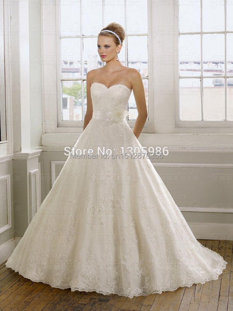 Fashionhot selling white satin lace ball gown wedding for Where to sell your wedding dress