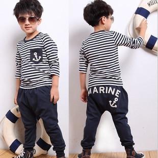 2014 fashion marine stripe style children short sleeves T shirt set for boys(China (Mainland))