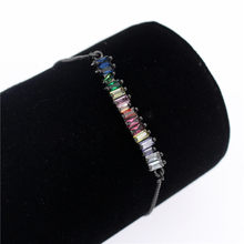 Poshfeel Colorful Cubic Zirconia Rainbow Bracelet for Women Gold Bracelets & Bangles Crystal Charm Jewelry Gift MBR190052(China)