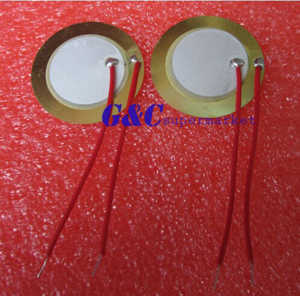 Гаджет  20PCS 27mm Piezo Elements Sounder Sensor Trigger Drum Disc + wire copper None Электронные компоненты и материалы