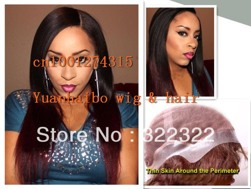 2013 New Style 22 #1B#99J Silky Straight Ombre Two Tone, Brazilian hair thin skin perimeter full lace wigs<br><br>Aliexpress