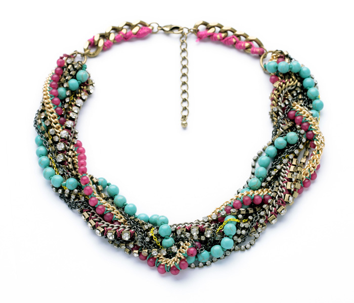 Multicolored Chunky Vintage Jewelry Rope Twisted Acrylic Beads Thick Mixed Chain Chokers Necklace<br><br>Aliexpress