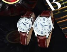 Moda ZMD amantes de negocio ' reloj de cuero mujeres se visten de hombres reloj popular mujer hombres de cuarzo reloj-mujeres W074-2