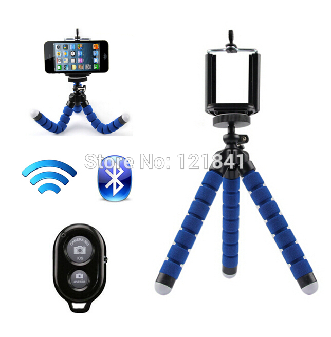 Free 1/4 Screw Metal Mini Flexible Tripod+Bluetooth Remote Shutter+Phone Holder Clip For iPhone 4s 5s 6 Plus Galaxy S3/4/5 Note3(China (Mainland))