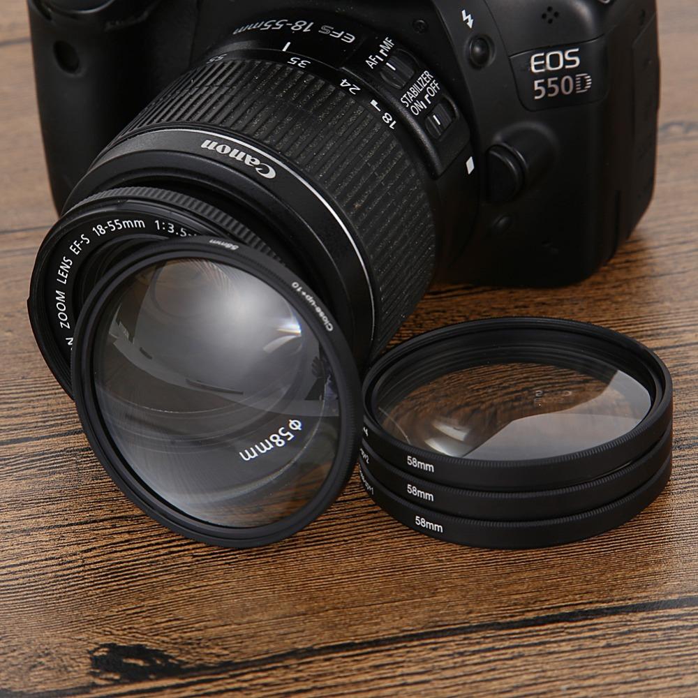58MM Macro Close Up Lens Filter Kit +1 +2 +4 +10 Kit with Carry Bag For Nikon Canon EOS 500D 550D 600D 650D1100D DSLR Camera(China (Mainland))