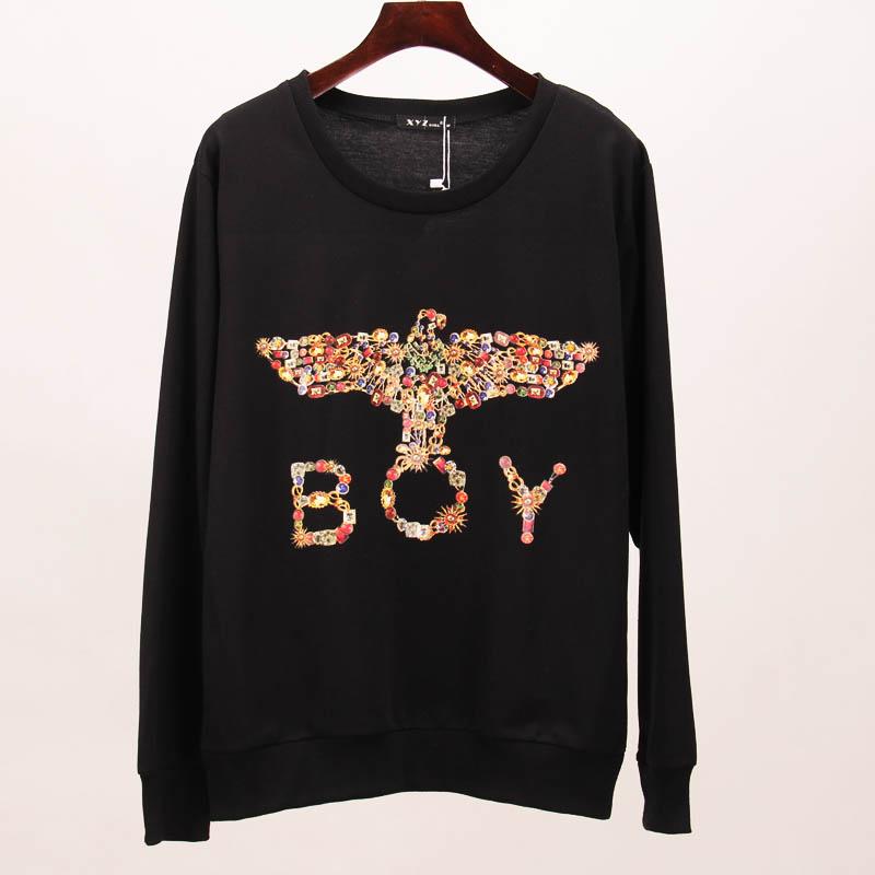 2015 new hoodies sweatshirt women jeweled eagle printed tracksuits sport long sleeve sweatshirts tees women woman tops SAKURA(China (Mainland))