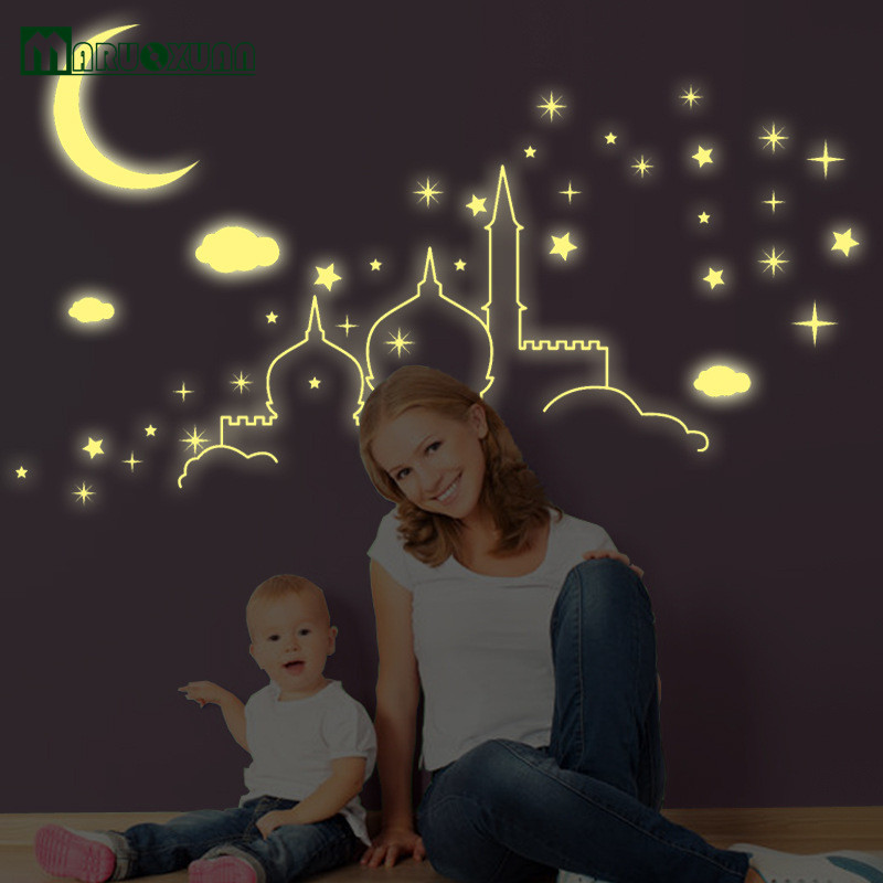 Fluorescent Stars Stickers Islamic Architecture Castle Moon Clouds Wall Stickers Luminous Stars Glow In The Dark For Kids Room(China (Mainland))