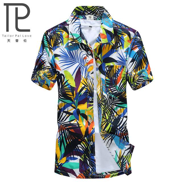 Мода свободного покроя гавайские рубашки мужчин пляж рай цветок человек высокое качество ...