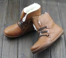 Giày Bốt Nữ Mùa Đông Giày Len Da Thật Chính Hãng Da Giày Mũi Tròn Phối Ren Nữ Cổ Chân Giày Nữ Giày Không Có Lớp Lót Trong(China)