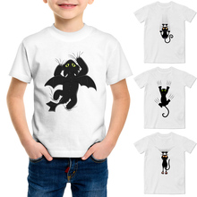 Kids Printed Tee Black Cat Cling to Curtain T Shirt 2017 Cool Fashion White T-shirt Casual Novelty Funny Tshirt for Boy Girls(China (Mainland))