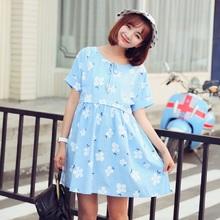 2016 new summer maternity dresses cotton print short sleeve dresses pregnant women's plus size dresses 16068